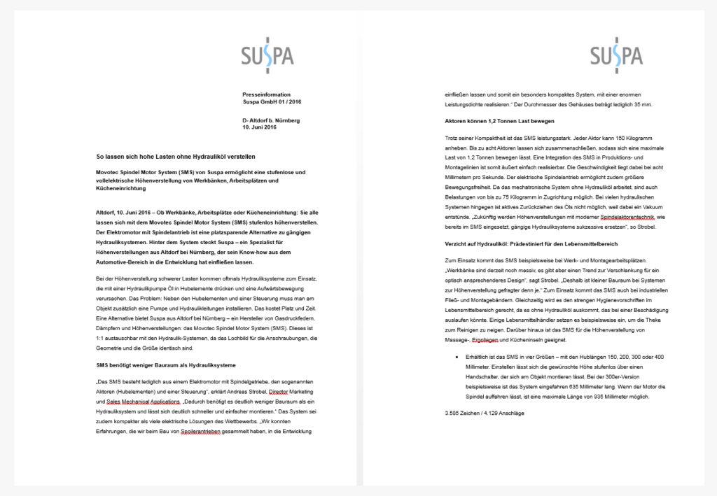 Pressemitteilung zu Movotec von SUSPA