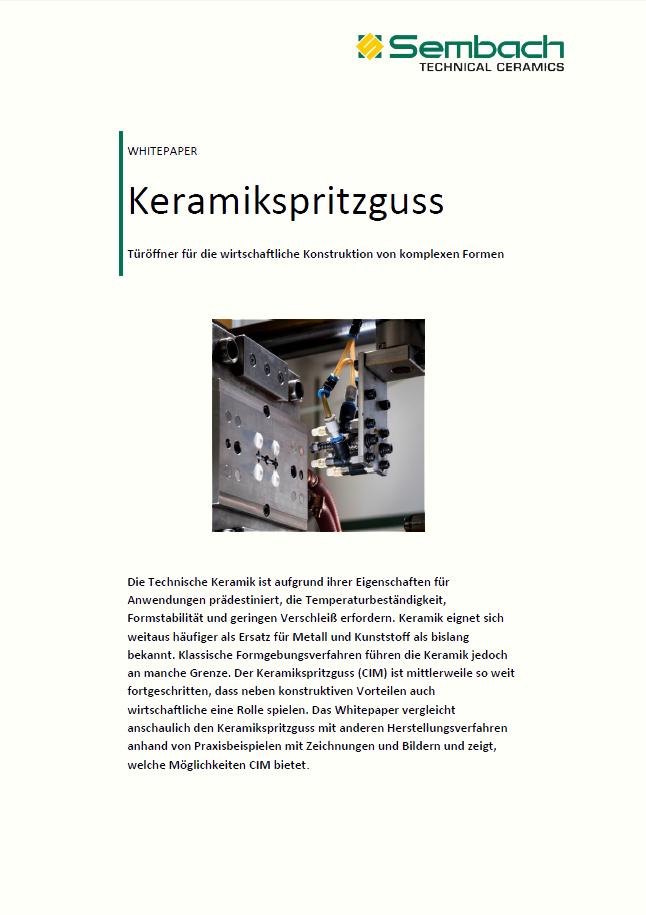 Whitepaper zum Thema Keramikspritzguss von Sembach Technical Ceramics